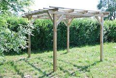 G&C Henley Holzpavillon klassische viereckige Pergola aus Fichtenholz druckimprägniert Maße: H215