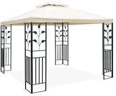 JOM Metall Pavillon x Schmiedeeisen-Ornamenten, anthrazit-grau pulverbeschichtet, Cremeton, Polyester 180 GR, Lüftungsdach