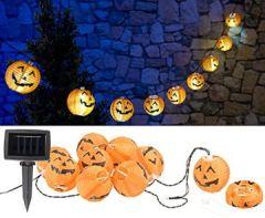 Party Lichterkette: Solar-Lichterkette mit 10 LED-Lampions im Halloween-Kürbis-Look, IP44 (Lampionkette