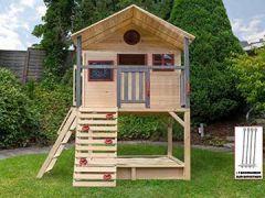 Stelzenhaus mit Kletterwand und Sandkasten Tobi4you. Kinderspielhaus, Sicherheit wählen:4X Bodenanker, wählen:ohne