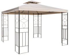 Gartenpavillon 300x300cm Metall schwarz/beige