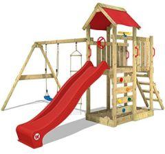 Spielturm MultiFlyer Kletterturm Spielplatz Garten mit Schaukel Kletterwand, Plane