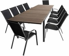 11tlg Gartengarnitur Gartentisch, Ausziehbar, Aluminiumrahmen, Polywood-Tischplatte Smoked-Grey, 280/220x95cm + 10x Stapelstuhl, Textilenbespannung