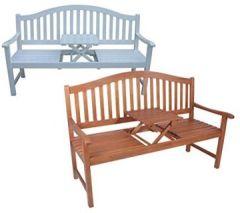Dekorative Gartenbank mit ausklappbarem Tisch Zwei Farbvarianten (Natur