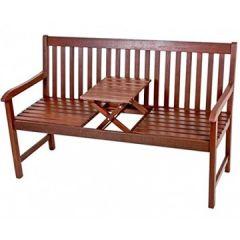 PADANG mit Tisch zum Hochklappen Sitzbank Eukalyptus geölt Parkbank NEU