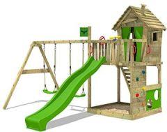 Spielturm HappyHome Hot XXL Baumhaus Kletterturm Klettergerüst Doppelschaukel Rutsche Sandkasten Kletterwand