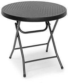 Gartentisch klappbar BASTIAN, rund T: 74 cm, Metall, Kunststoff, Rattan-Optik, schwarz