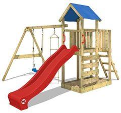 Klettergerüst Spielturm Kletterturm mit Schaukel Strickleiter Sandkasten 'FastFlyer' - rote blaue Plane