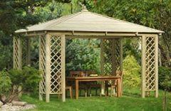 G&C Rimini großräumige, viereckige Gartenlaube Holzdach, Maße: 4.0x3.0 h3,1