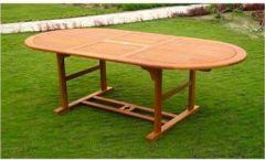 Gartentisch ausziehbar Holz 150/200x 100cm OVAL Kreta