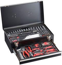 Werkzeugbox: Metall-Werkzeugkasten WZK-1337.s, 2 Fächer, 133-teilig (Werkzeugsortiment