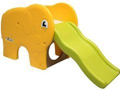 Kinderrutsche Elefanten extra breite Stufen Wellenrutsche Gartenrutsche Babyrutsche Grün Gelb