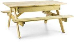 Picknicker 180 Picknicktisch mit Sitzbänken Sitzgarnitur Gartengarnitur 32mm Kiefernholz (inkl. Sonnenschirmaussparung Ø 50mm, witterungsbeständige Kesseldruckimprägnierung, 45 kg