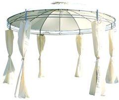 Eleganter Gartenpavillon 3,5 Meter Durchmesser rund mit Dach 100% w erdicht UV30+ 6 Vorhängen Marseille