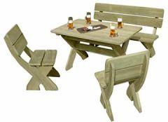 Gartenbank mit Picknicktisch und 2 Stühlen aus Holz
