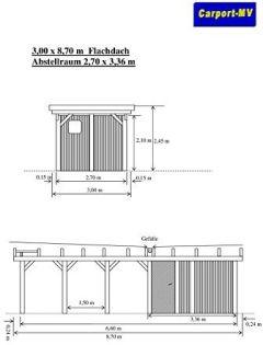 Carport-MV 3,00 x 8,70 Flachdach Lärche KVH mit Abstellraum