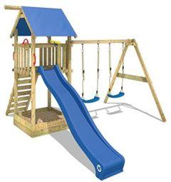Spielturm Smart Empire Kletterturm Garten mit Rutsche, Doppelschaukel und Sandkasten, + Plane