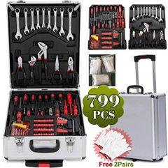 799tlg Werkzeugkasten mit Universal Werkzeugset Werkzeugkoffer Trolley