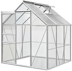 Aluminium Gewächshaus 5,85m³ mit Treibhaus Gartenhaus Frühbeet Pflanzenhaus Aufzucht 190x195cm Modellauswahl |verschiedene Größen |Fundament optional auswählbar