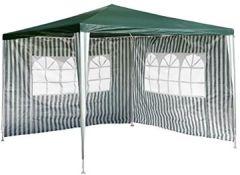 3x3m, blau, grün wasserdicht Pavillon weiß PE Plane 110g/m² + 2 Seitenteile Gartenzelt Sonnenschutz Stahlgestell Festivalzelt Eventzelt Partyzelt