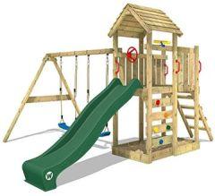 Kletterturm MultiFlyer Spielturm Holzdach Garten-Spielplatz Schaukel und Rutsche, Kletterwand, grüne