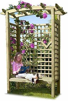 Pergolensitz als Gartenlaube mit Gartenbank und Dach Holz