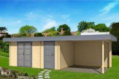Gartenhaus ORIENTAL IV - SD300 mit Schleppdach 470x320+300cm 40mm Blockhaus