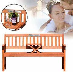 Gartenbank Tisch aus Eukalyptus Holz Personalisiert Namen und Datum Dreisitzer individuelle Geschenkidee zur oder zum Hochzeitstag Plakette - PARENT