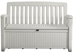Gartenbank/Kissenbox Weiß 227 Liter Volumen max. 270 kg belastbar UV beständig und langlebig