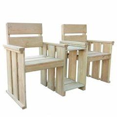 Gartenbank Loveseat mit Tisch Holzbank 150 55 89 cm Kiefernholz Balkonset