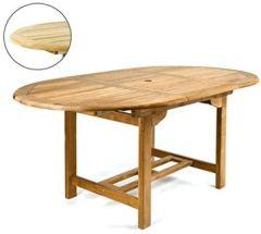 Ovaler ausziehbarer Gartentisch Esstisch Balkontisch Holz Teak für Terrasse Wintergarten witterungsbeständig unbehandelt oder massiv 120 / 170 cm