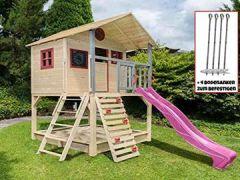Stelzenhaus mit Kletterwand und Sandkasten Tobi4you. Kinderspielhaus, wählen:Pinke Rutsche, Sicherheit wählen:4X Bodenanker
