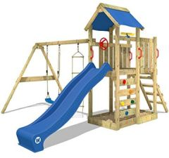 Spielturm MultiFlyer Klettergerüst mit Schaukel, Strickleiter, Kletterwand -leiter, Plane, Wellenrutsche viel Spiel-Zubehör