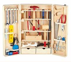 Deluxe Werkzeugkasten Schraubendreher Enthält Mehr Werkyeugkasten Kompakter Holzschrank Heimwerker Laubsägeschrank 50 Teilen Für Kinder XL