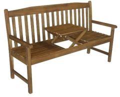 Gartenbank COLOMBO 3-Sitzer mit ausklappbarem Tisch Sitzbank Holzbank Parkbank