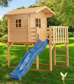 Kinder-Spielhaus auf Stelzen, Holz, Blaue Rutsche, Dachüberstand, Balkon, P167430-3