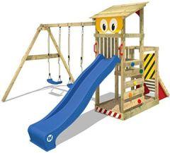 Spielturm Smart Scoop Kletterturm Klettergerüst mit Rutsche, doppelter Schaukel, Kletterwand und Sandkasten, blaue + gelb-rote Plane
