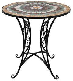 Gartentisch rund Ø70cm Mosaiktisch Beistelltisch Bistrotisch Balkontisch Keramik