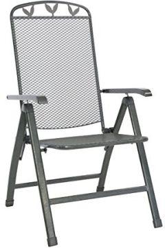 Klappsessel Toulouse eisengrau, kunststoffummanteltem Stahl, Gartenstuhl mit 5-fach verstellbarer Rückenlehne, witterungsbeständig und pflegeleicht