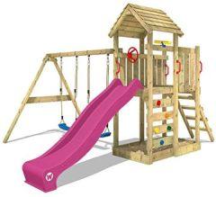 Spielturm MultiFlyer Klettergerüst mit massivem Holzdach, Schaukel, Kletterwand -leiter, violetter Wellenrutsche viel Spiel-Zubehör