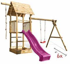 Spielturm mit Schaukel, Sandkasten, Holzdach und Kletterseil.Rutsche Sowie Optional., wählen:Pinke Rutsche, Sicherheit wählen:6X