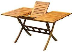 Balkon-Ausziehtisch Akazienholz, 100/140x90 cm, rotbrauner Ausziehtisch, Gartentisch, Gartenmöbel Holzmöbel ausziehbar