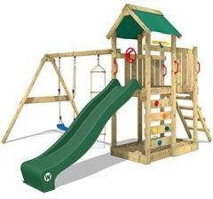 Spielturm MultiFlyer Kletterturm Spielplatz Garten mit Schaukel, und Kletterwand, + Plane