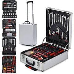 599-teilige Alu Werkzeugkoffer bestückt, Universal Werkzeugkasten, Werkzeugtrolley im praktischen hochwertigen Arbeitshandschuhe
