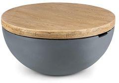 Blockhouse Lounge Gartentisch MgO-Zement Beistelltisch für drinnen und draußen Rustikaler Beton-Optik Mediterranes Design Halbkugel mit aufgesetzter Holztischplatte