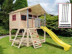 Stelzenhaus mit Kletterwand und Sandkasten Tobi4you. Kinderspielhaus, wählen:Gelbe Rutsche, Sicherheit wählen:4X Bodenanker