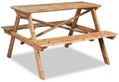 Picknicktisch Gartentisch Sitzgarnitur Bierbank Bambus 78 cm