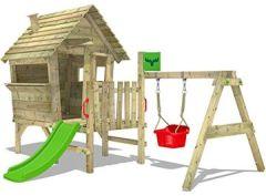 Stelzenhaus VanillaVilla Joy XXL Spielhaus mit Rutsche, Veranda und Schaukelanbau Babyschaukel für Kleinkinder