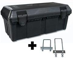 Deichselbox mit Verschlüssen inkl. Edelstahlhaus Halter, Werkzeugkasten für Staukiste 30 ltr Anhängerbox, B23-0+MON4002