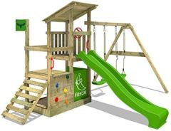 Spielturm FruityForest Fun XXL Klettergerüst Kletterturm auf 3 Ebenen im Hochsitz-Style schrägem Holzdach, Schaukel 2 Sitzen, Rutsche und viel Zubehör
